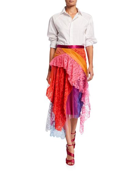 Multicolor Lace Asymmetric Skirt
