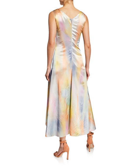 Tie-Dye Satin Asymetric Midi Dress