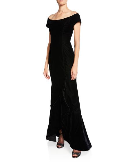 Off-the-Shoulder Velvet Gown