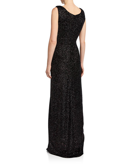 Sleeveless Beaded Gathered Gown