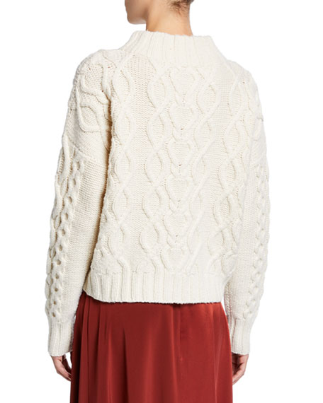 Wool-Cashmere Chunky Cable Knit Sweater
