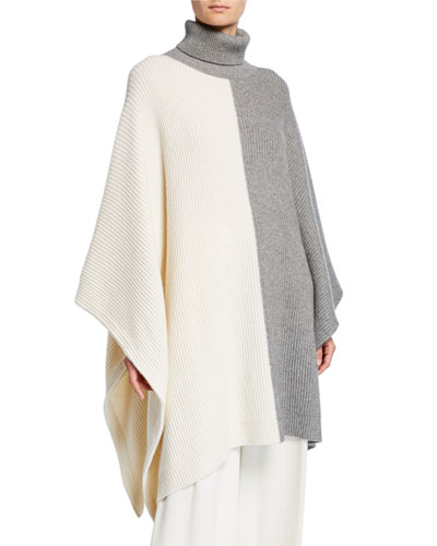 Two-Tone Wool-Cashmere Draped Poncho