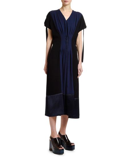 Colorblocked Corset-Waist Dress