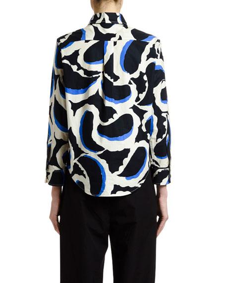 Paisley Bracelet-Sleeve Button-Front Shirt