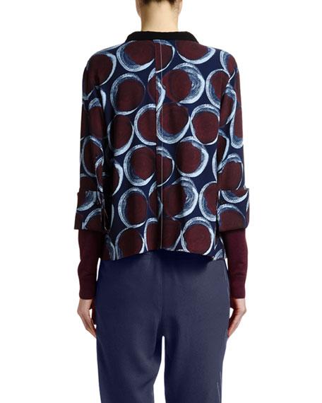 Circle-Print Tie-Neck Blouse