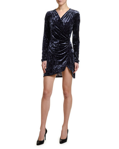 Stretch Velvet Faux-Wrap Mini Dress