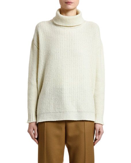 Wool-Cashmere Turtleneck Textured Sweater