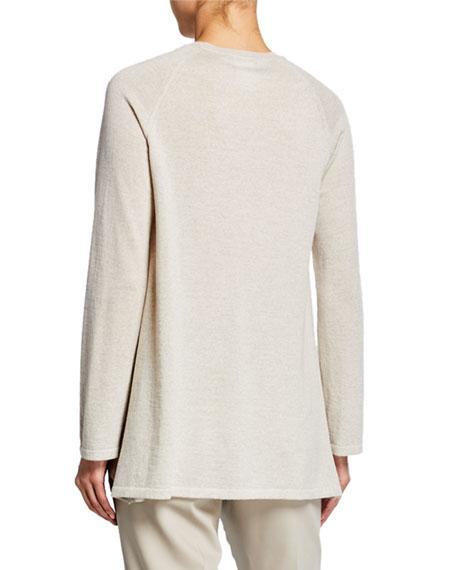 Lightweight Castle-Print Silk Paneled Sweater