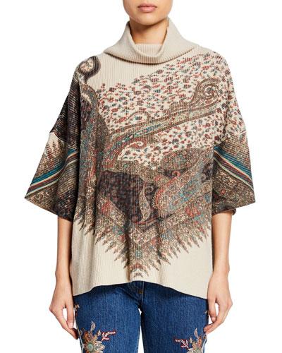 Mock-Neck English Floral Wool-Cashmere Turtleneck Sweater
