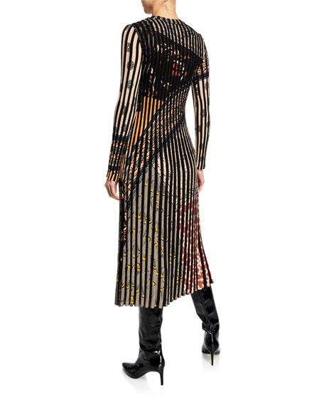 Long-Sleeve Pleated Floral-Print Dress