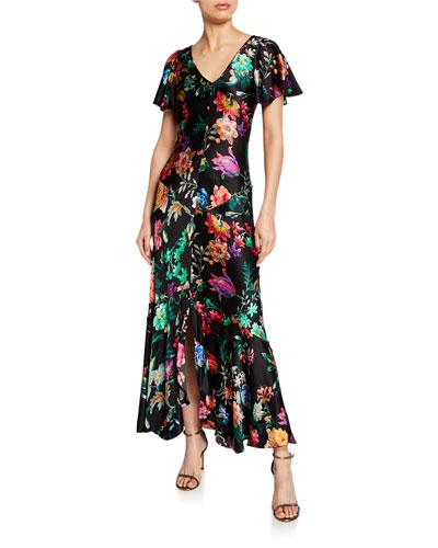 Hammered Jacquard Flutter-Sleeve Gown