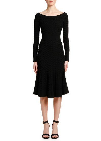 Off-the-Shoulder Cable Knit Midi Dress