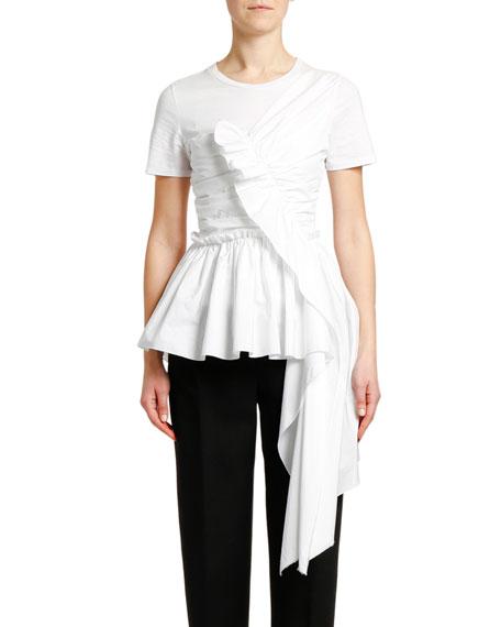 Alexander McQueen Ruffled Front Draped Cotton Jersey T-shirt