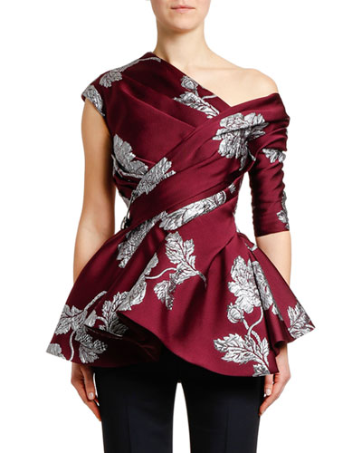 Asymmetric Northern-Rose Brocade Top