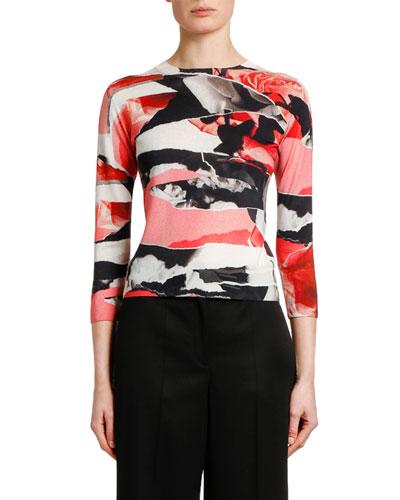 3/4-Sleeve Torn Rose Print Sweater