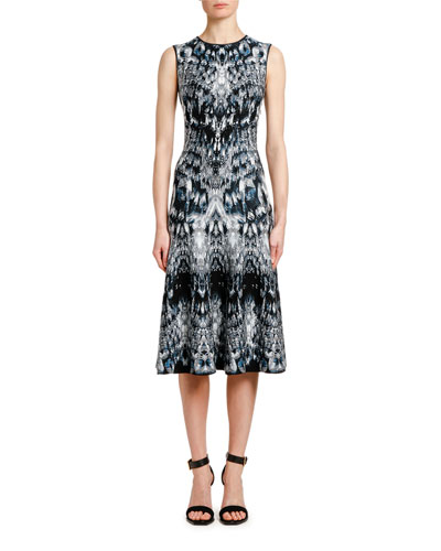 Sleeveless English-Crystal Jacquard Cocktail Dress
