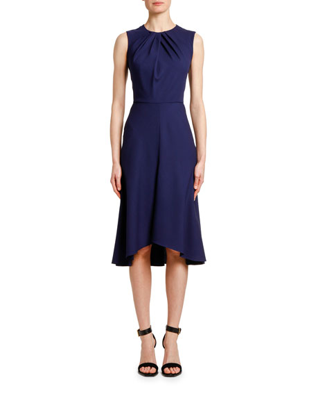 Pintucked-Neck Wool-Crepe Cocktail Dress