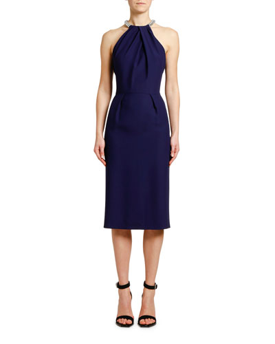 Halter-Neck Leaf Crepe Dress