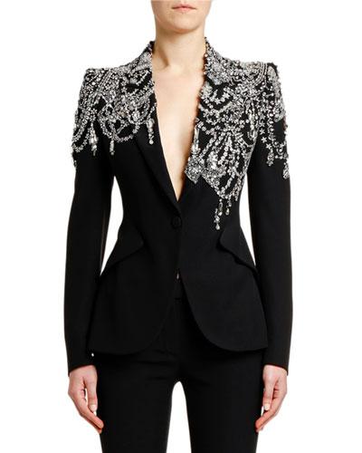 2de2de44c7db4f Crystal-Embellished Jersey Blazer Jacket Quick Look. Alexander McQueen