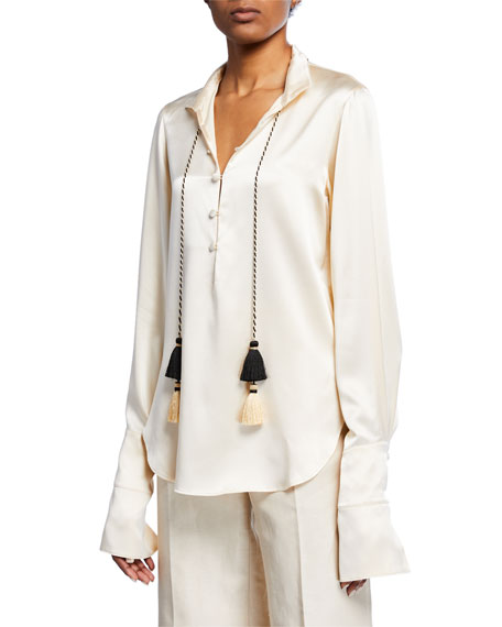 Oscar de la Renta Tasseled Silk Button-Front Shirt