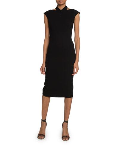 Cutout-Neck Crepe Cap-Sleeve Dress