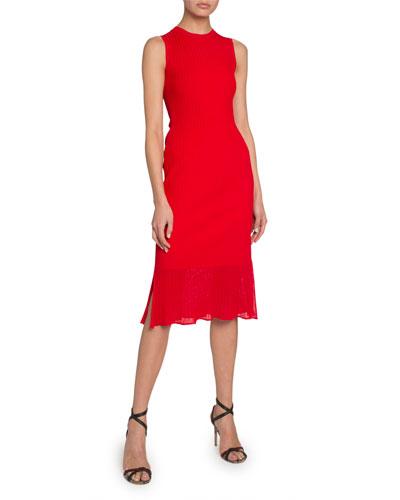 Sheer Hem Sleeveless Bodycon Dress