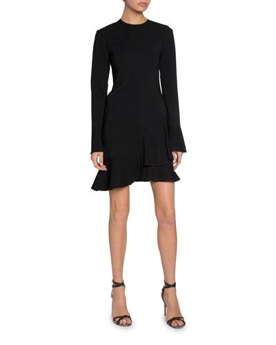Triple Georgette Long-Sleeve Flounce Dress