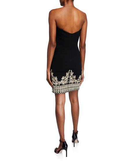 Metallic-Embroidered Strapless Cocktail Dress