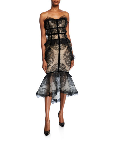 Ruffled Lace Strapless Mermaid Cocktail Dress