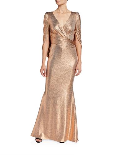 Golden Cape-Back Gown