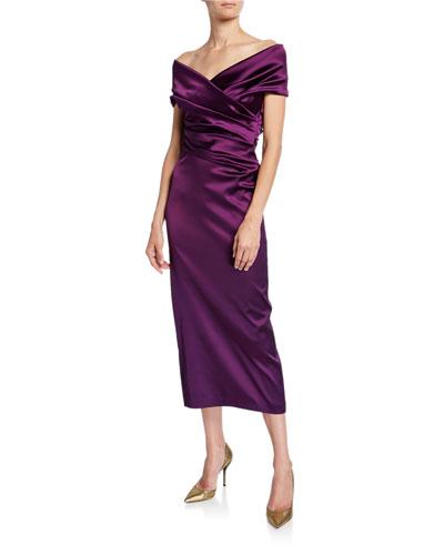 d09bd395f8c Off-the-Shoulder Ruched Satin Dress Quick Look. Talbot Runhof