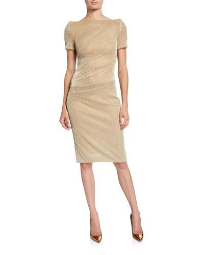 Metallic Voile Short-Sleeve Dress