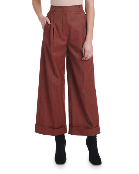 Micro-Checked Wide-Leg Cropped Pants