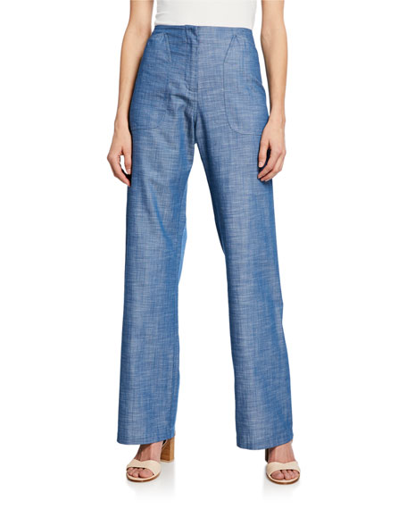 Eda Straight-Leg Chambray Pants