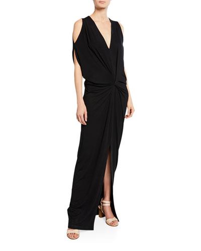 Miu Cold-Shoulder Knotted Maxi Dress