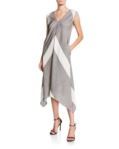 Foulard Chevron Sleeveless Midi Dress