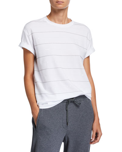 Cotton Micro Sequin-Striped T-Shirt