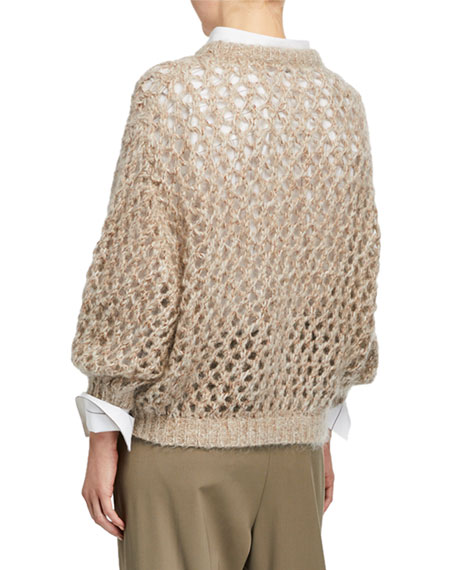 Shimmer Open-Weave Mohair Cashmere