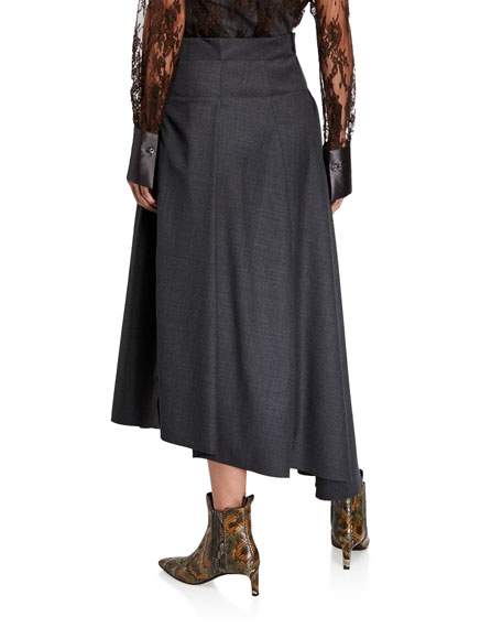 Grisaille Wool Asymmetric Skirt