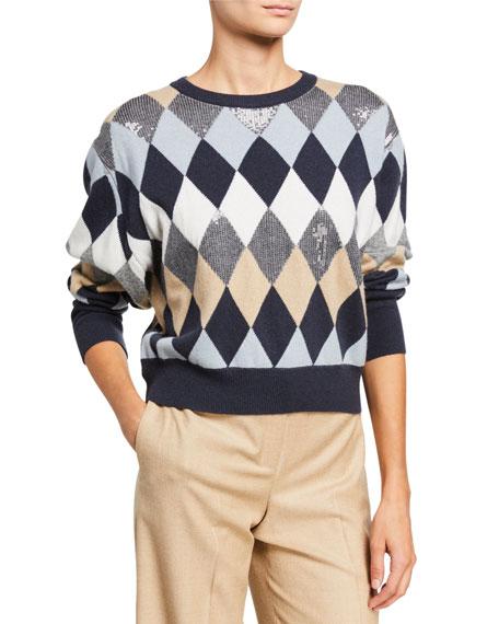 Wool/Cashmere Argyle Crewneck Sweater with Paillettes