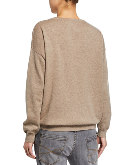 V-Neck Long-Sleeve Cashmere Sweater w/ Monili Trim