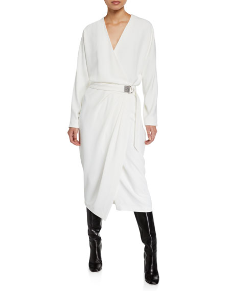 Brunello Cucinelli Dresses LONG-SLEEVE DRESS WITH MONILI D-RING BELT