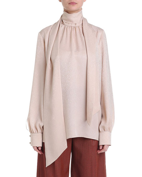 Shimmer Silk Tie-Neck Blouse