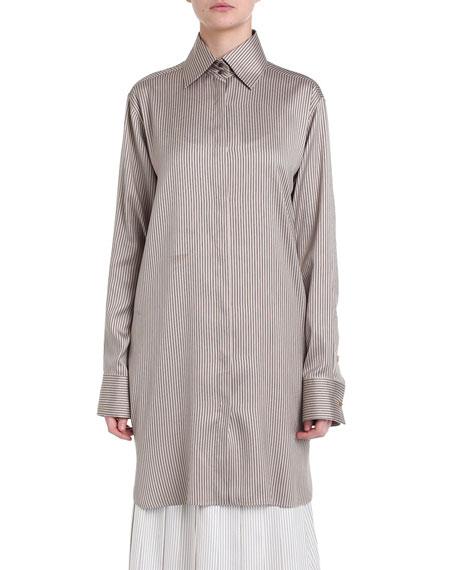 Pinstriped Silk Twill Long Shirt