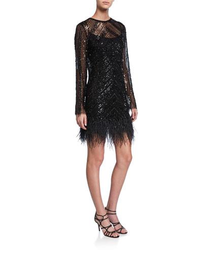 Embellished Long-Sleeve Cocktail Dress