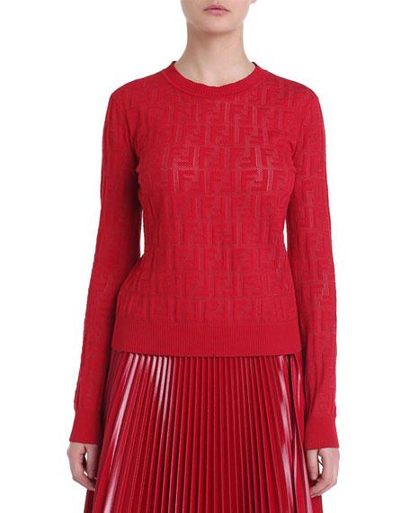 048fea48b3c Fendi Crewneck Logo Jacquard Sweater