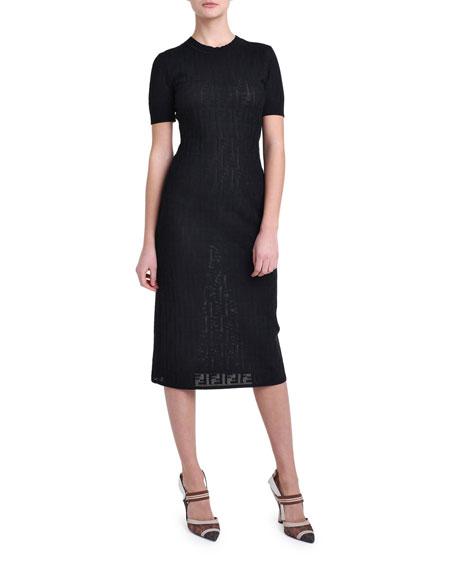 Fendi Short-Sleeve Logo Jacquard Sweater Dress
