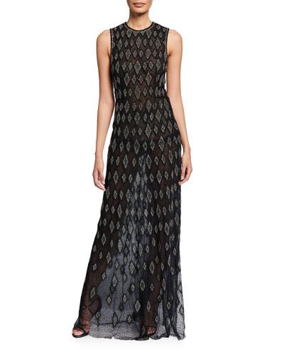 Silk Diamond-Embroidered Sleeveless Gown