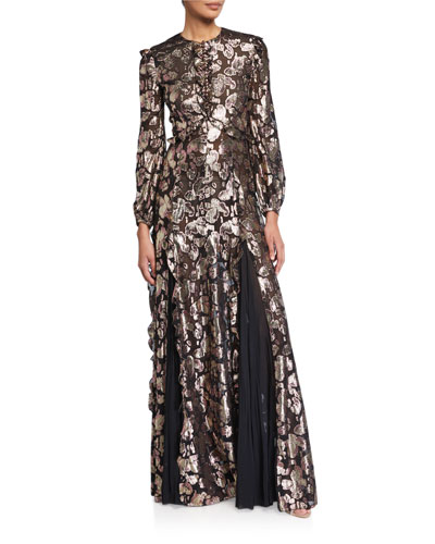 Lame Buttoned High-Neck Gown