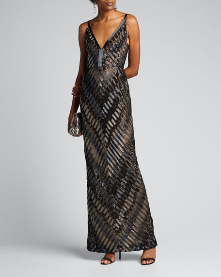 Image 1 of 1: Chevron-Embroidered V-Neck Gown